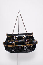 FENDI Black Patent Leather Borsa Mini B Buckle Bag Chain Evening Purse Handbag