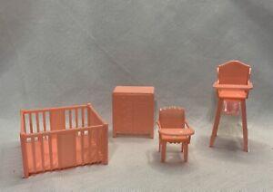 Pink Nursery Play Pen Potty & High Chair Marx Dollhouse Doll Furniture 4 Pc Lot