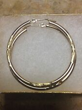 10k Real Yellow Gold Hoop Round Diamond Cut Earring 2x35mm Small Snap Closure
