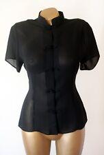 Topshop Negro Oriental Estilo Nudo Chino botón a medida Blusa Talla UK 12