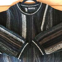 Megalos Men's Vintage Sweater Grey Black Knit Long Sleeve Hip Hop XLT XL Tall