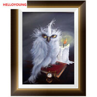 DIY 5D Embroidery White Owl Diamond Painting Kits Cross Stitch Mosaic Home Decor