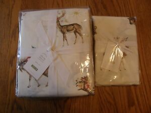 Pottery Barn Silly Stag Printed Queen Sheet Set & Extra Standard Pillowcases-New