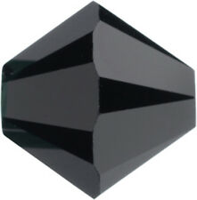Set of 100 - 4 mm - Jet/Black Swarovski Crystal Beads 5301 Glass Bicone