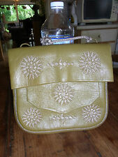 SAC SACOCHE CUIR CACA D'OIE BRODE ETHNIQUE VINTAGE KAKI EMBROIDERED LEATHER BAG