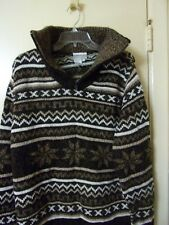 Coldwater Creek Women's Sweater Size 1X Brown Cowl Neck With Zipper