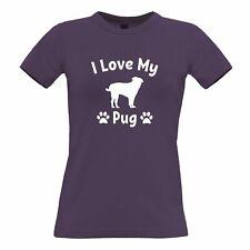Dog Owner Womens TShirt I Love My Pug Slogan Pet Lover Cute Breed
