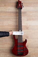 Wolf 7 String Jazz Bass Neck Through Transparent Red