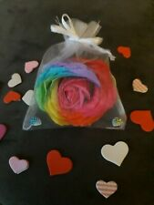 Rainbow Rose Soap Petals presented in a lovely Organza bag