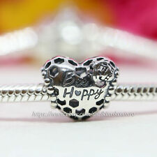 Authentic Pandora Bee Happy Honeycomb Heart Sterling Silver Charm 798769C00