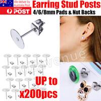 200pcs 4/8mm DIY Flatback Earring Stud Posts Pads & Nut Backs Stainless Steel AU
