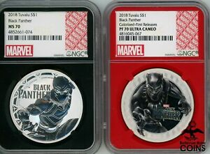 LOT OF 2: 2018 TUVALU BLACK PANTHER 2 TYPES! NGC COINS MS70 & PF70 ULTRA CAMEO