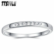 Cubic Zirconia Sterling Silver Wedding & Anniversary Bands