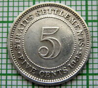 STRAITS SETTLEMENTS MALAYSIA GEORGE V 1935 5 CENTS, SILVER