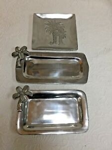 Three (3) Decorative Metal Trays with Palm Trees - Silver