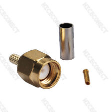 RP-SMA Crimp Plug Male (female pin) Straight RF Connector For LMR100 RG316 RG174