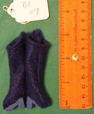 Royal Blue Felt Boots with Light Blue Heels & Soles for Regular Barbie Doll Bt07