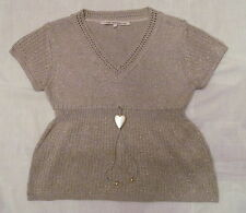 LA FEE MARABOUTEE tan with gold lurex metallic thread boho heart charm knit top