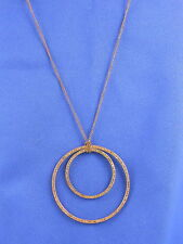 Fossil Brand Brown IP Rhinestone Double Circle Necklace
