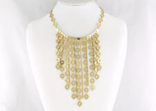 Unsigned 1970's Runway Drippy Necklace with Dangling Gold Tone Chains & Circles