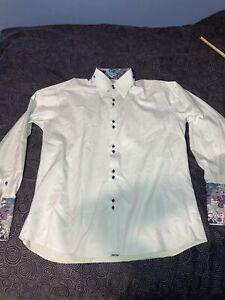 Men's Vintage Axxess High Quality Green Flipcuff Button Up Dress Shirt Size 2XL