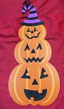 """Happy Halloween Decor Wall Door Sign Hangs 19""""-3 Stacked Pumpkins Jack O Lantern"""