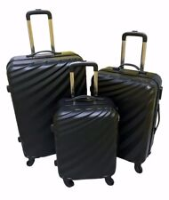 HARD SHELL LIGHT WEIGHT 4 WHEEL SPIN SUITCASE ABS LUGGAGE CASE - BLACK SET OF 3