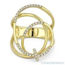 Gold Right-Hand Overlap Swirl Fashion Ring 0.25 ct Round Cut Diamond 14k Yellow