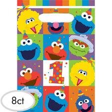 SESAME STREET Elmo Turns One FAVOR BAGS (8) ~ Birthday Party Supplies Plastic