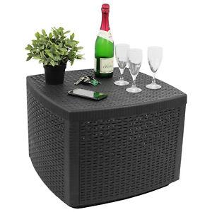 Beistelltisch Gartentisch Loungetisch 53x53xH40cm Rattan-Optik Kunststoff Anthr.