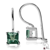 5MM Square Create Color Change Alexandrite 925Sterling Silver Leverback Earrings