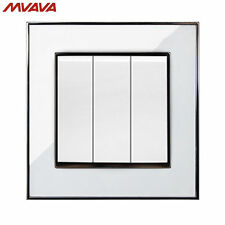3 Gang 1/2 Way Push Button Wall Light Control Switch Acrylic White Chromed Plate