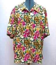 Fitting Image Floral Animal Print Polyester Crepe Hawaiian Shirt Plus Size 26/28