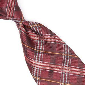 Robert Talbott Best of Class Mens Silk Necktie Burgundy Red Gray Plaid Woven Tie