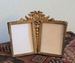 Vintage Art Nouveau Antique Brass Double Photo Picture Easel Frame