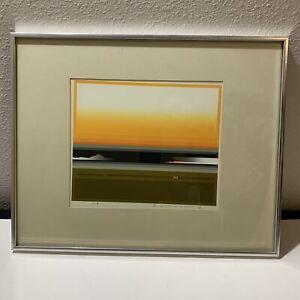 "Vtg Sawada Tetsuro Silkscreen Painting Skyscape ""Small Sun Up"" 1979 Artist Proof"