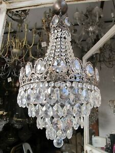 """Antique French Big Bohemia Crystal Chandelier Ceiling Lamp 1940's 14"""" Diameter """""""