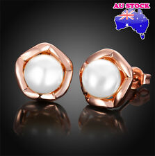 18K Rose Gold Filled Stud Earrings With 8MM Faux White Pearl