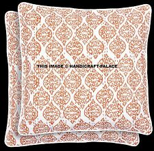 """2 PC Hand Printed Cushion Cover 16"""" Square Indian Embroidery Kantha Quilted Art"""