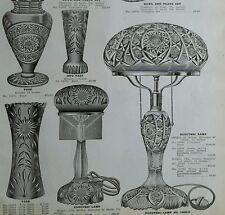 1910 Cut Glass Electric Lamp decorative Vase designs antique catalog ad page