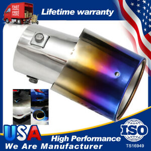 New Car Burnt Blue Muffler Tips Exhaust Pipes Tail Titanium Stainless Steel Rear