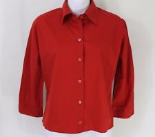 PRADA Women's Red Button Down Shirt Blouse Size 40 Made in Italy