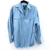 Ralph Lauren Country Authentic Dry Goods Mens Denim Long Sleeve Shirt Western
