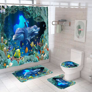 Sea World Shower Curtain Bathroom Rug Set Thick Bath Mat Toilet Lid Cover