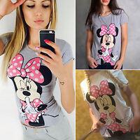 Summer Women Minnie Mouse Casual T-shirt Short Sleeve Cotton Basic Tee Tops Soft