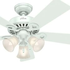 Hunter Fan 44 inch White Finish Ceiling Fan w/ 3-Light Fixture & Remote Control
