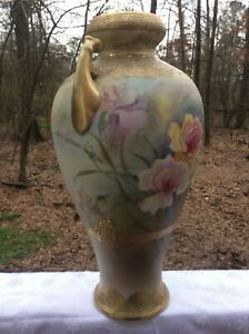 Large Gorgeous Japanese Nippon Floral Vase With Maple Leaf Mark Circa 1891-1911