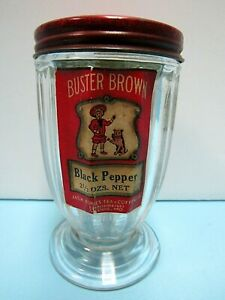 EXTREMELY RARE 1940's BUSTER BROWN 2.5 OZ. GLASS PEPPER SHAKER WITH RED TIN LID