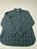Mens PENDLETON Green Plaid Vintage Black Watch Tartan Button Down Shirt Sz XL