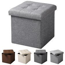 Sitzhocker Sitzwürfel Aufbewahrungsbox faltbar Leinen MDF SH06hgr-1 Hellgrau